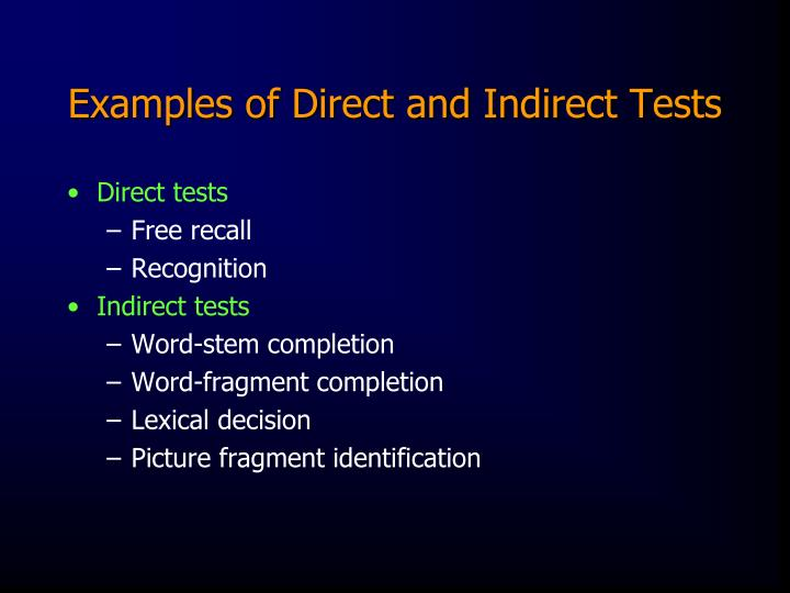 Examples of Direct and Indirect Tests