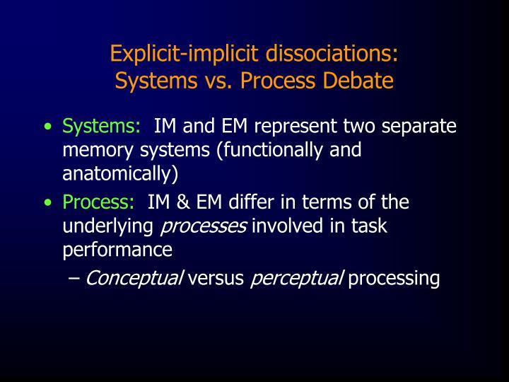 Explicit-implicit dissociations: