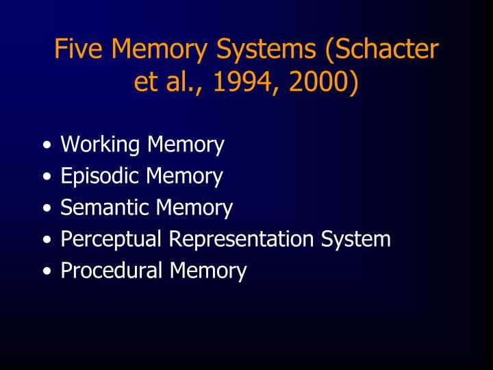 Five Memory Systems (Schacter et al., 1994, 2000)
