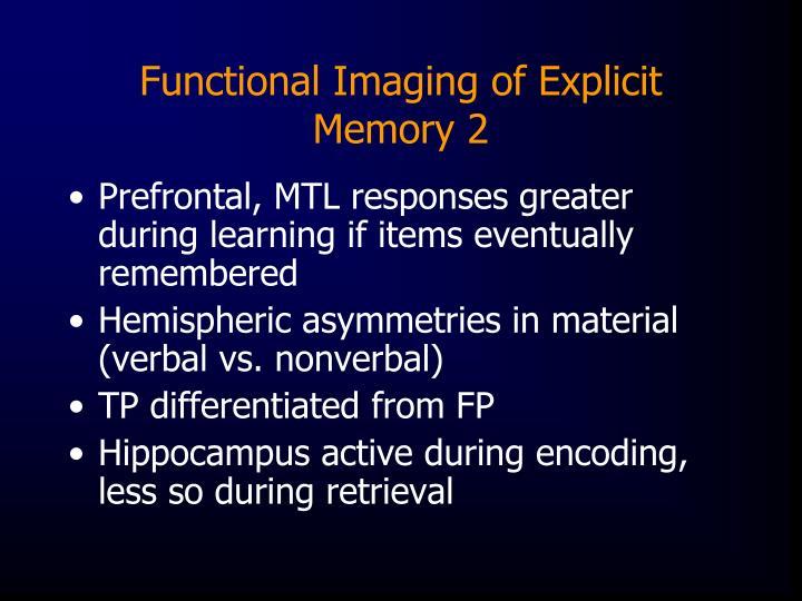 Functional Imaging of Explicit Memory 2