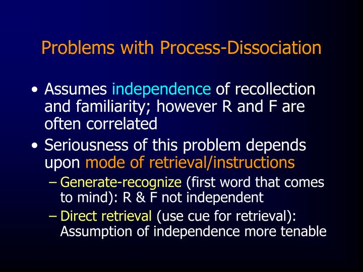 Problems with Process-Dissociation