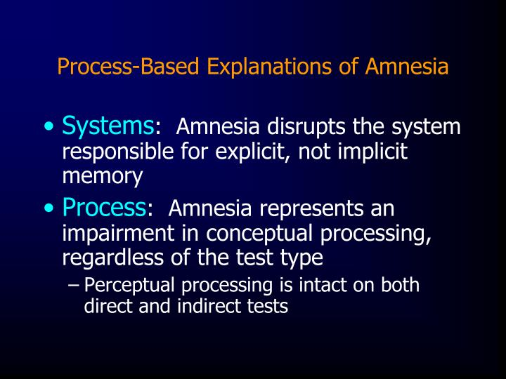 Process-Based Explanations of Amnesia