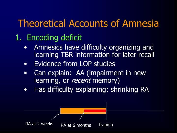 Theoretical Accounts of Amnesia