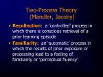 two process theory mandler jacoby
