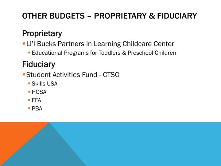 Other budgets – proprietary & fiduciary