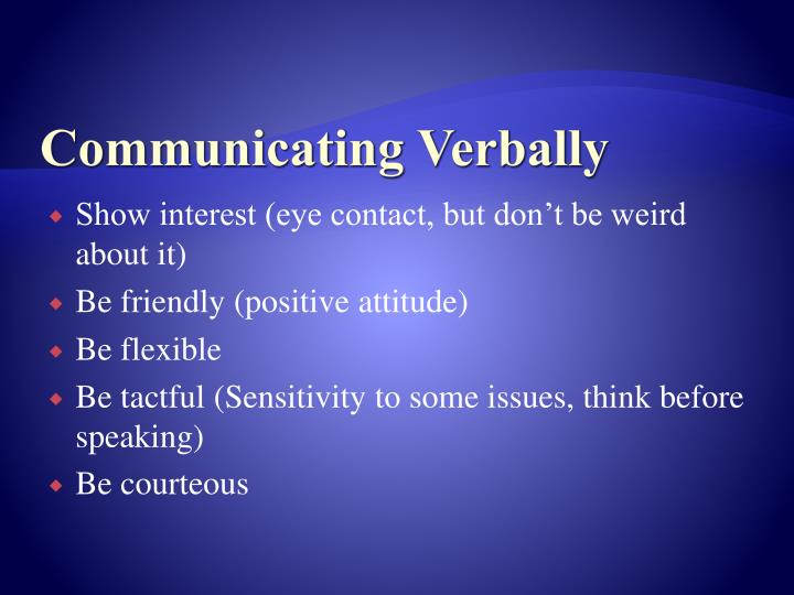 Communicating Verbally