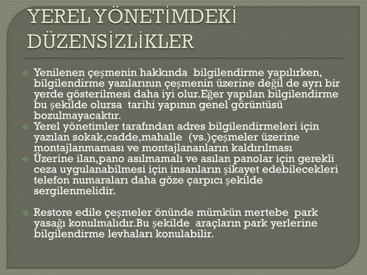 YEREL YNETMDEK DZENSZLKLER