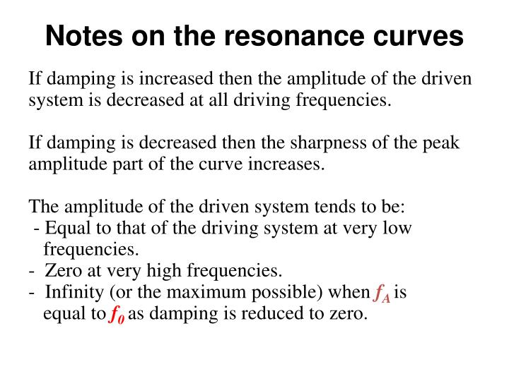 Notes on the resonance curves