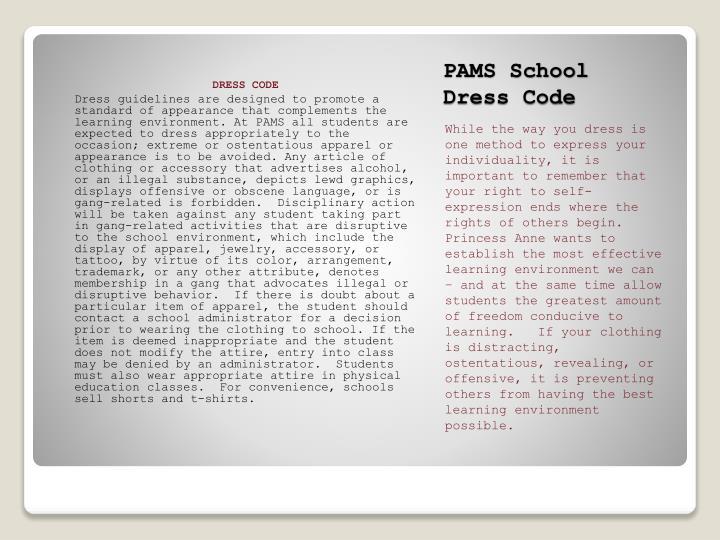 PAMS School Dress Code