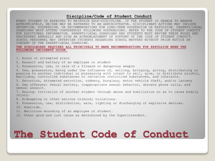 Discipline/Code of Student Conduct