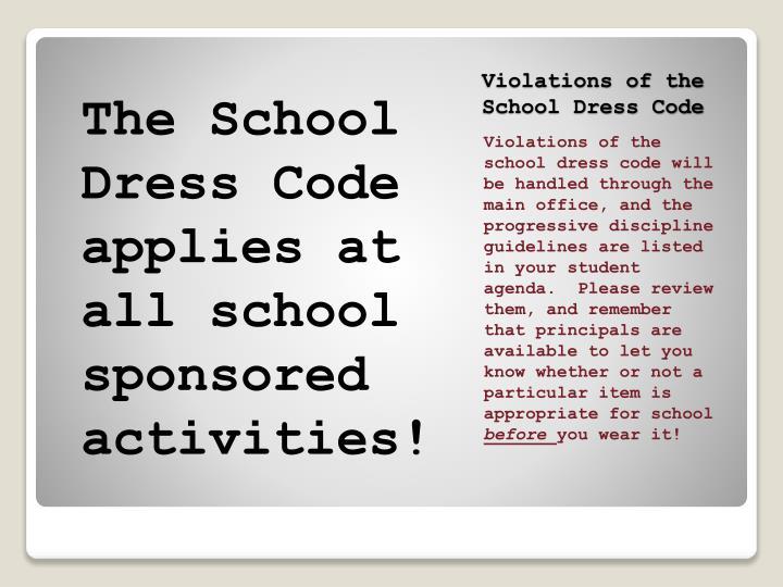 Violations of the School Dress Code
