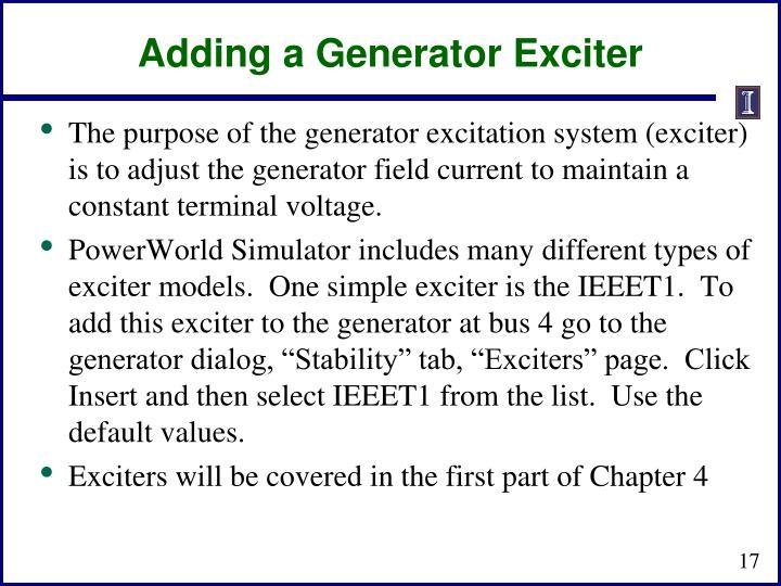 Adding a Generator Exciter