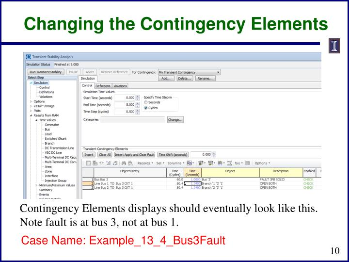 Changing the Contingency Elements