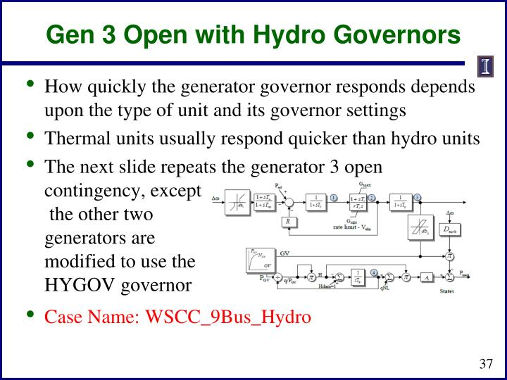 Gen 3 Open with Hydro Governors