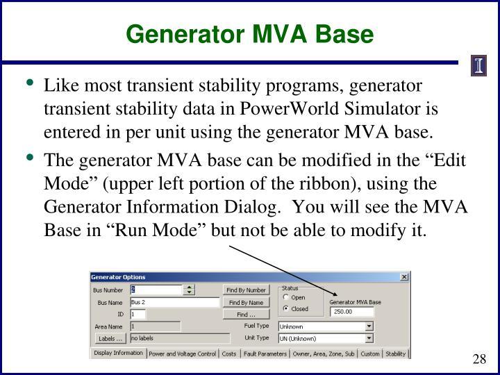 Generator MVA Base