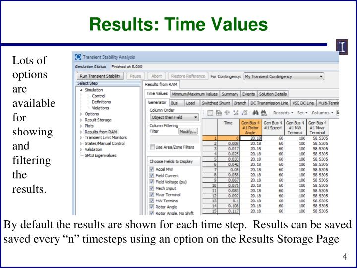 Results: Time Values