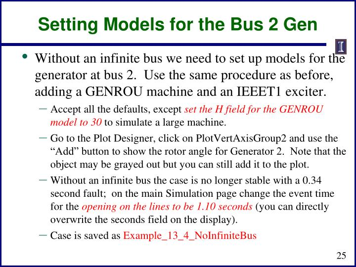 Setting Models for the Bus 2 Gen