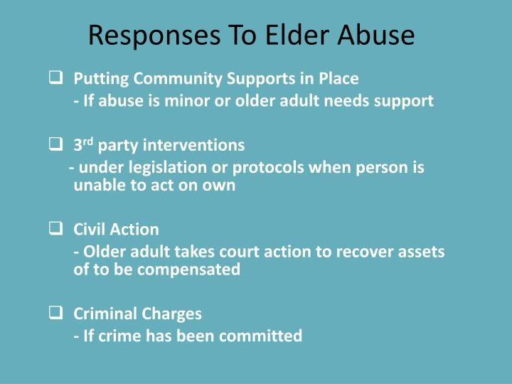 Responses To Elder Abuse
