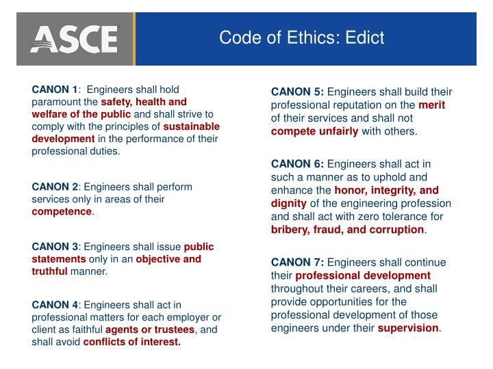 Code of Ethics: Edict