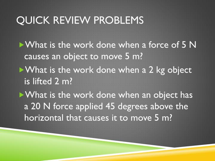 QUICK REVIEW PROBLEMS