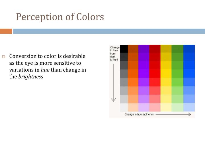 Conversion to color is desirable as the eye is more sensitive to variations in