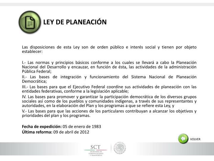 LEY DE PLANEACIÓN