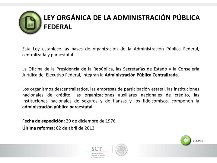 LEY ORGÁNICA DE LA ADMINISTRACIÓN PÚBLICA FEDERAL
