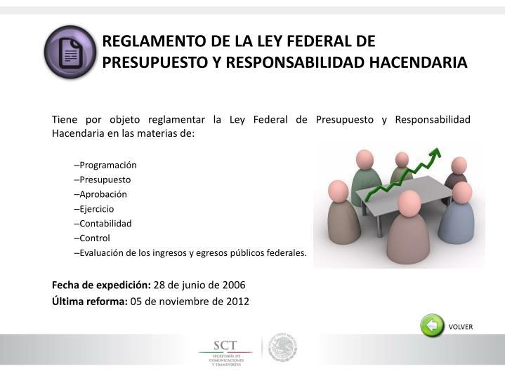 REGLAMENTO DE LA LEY FEDERAL DE PRESUPUESTO Y RESPONSABILIDAD HACENDARIA