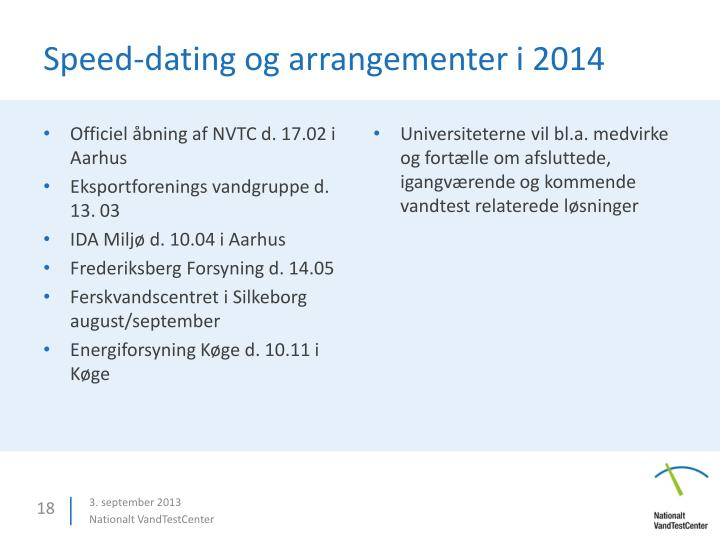 Speed-dating og arrangementer i 2014