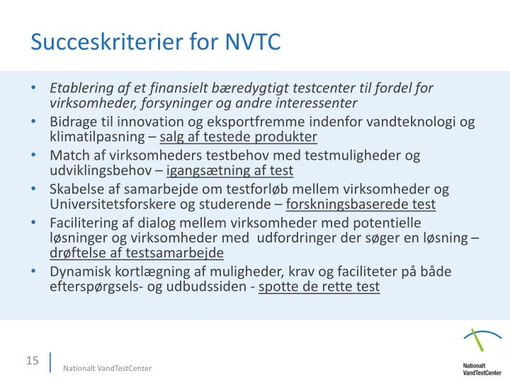 Succeskriterier for NVTC