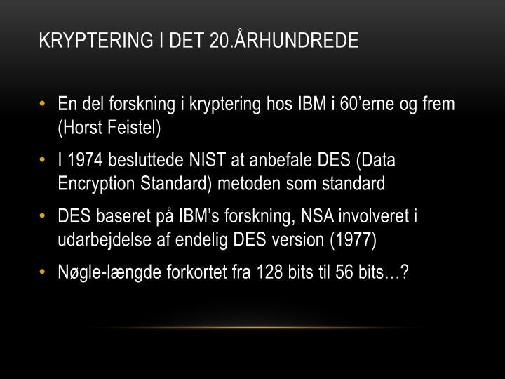 Kryptering i det 20.århundrede