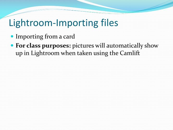 Lightroom-Importing files