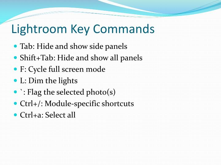 Lightroom Key Commands