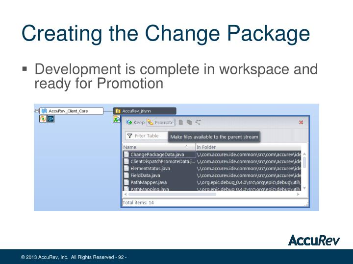 Creating the Change Package
