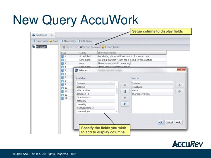 New Query AccuWork