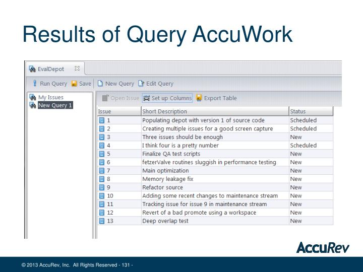 Results of Query AccuWork
