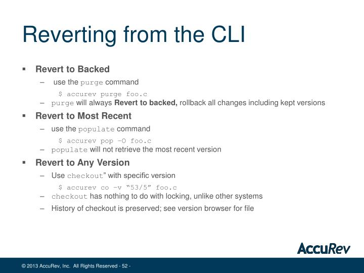 Reverting from the CLI