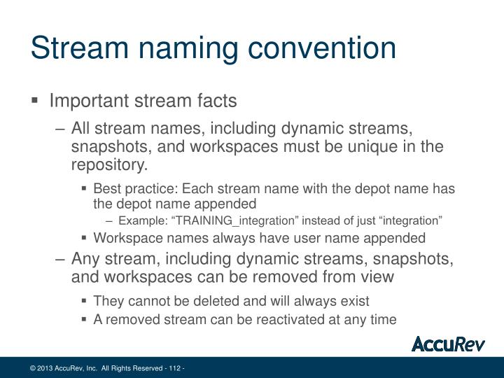 Stream naming convention