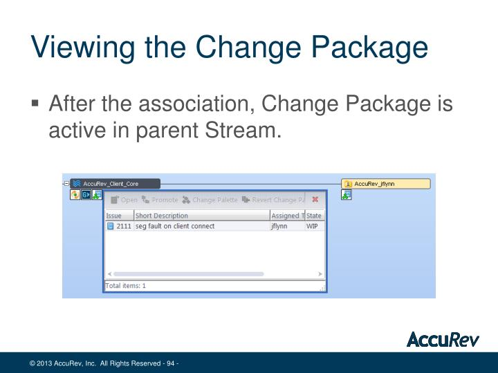 Viewing the Change Package