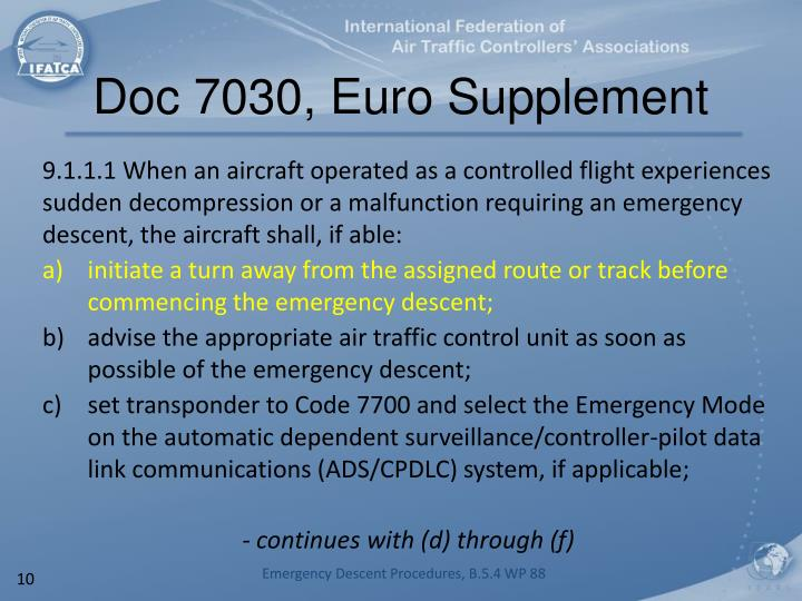 Doc 7030, Euro Supplement
