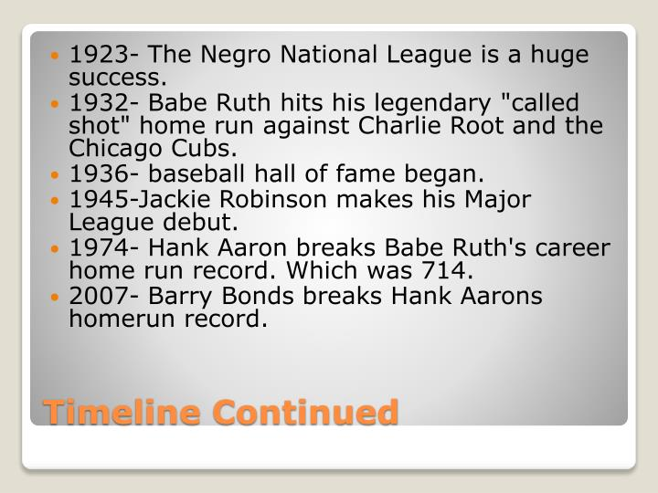 1923- The Negro National League is a huge