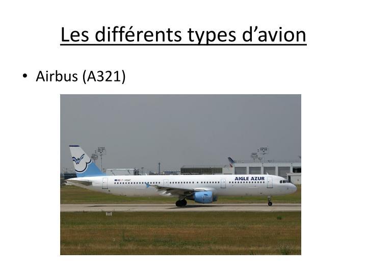 Les différents types d'avion