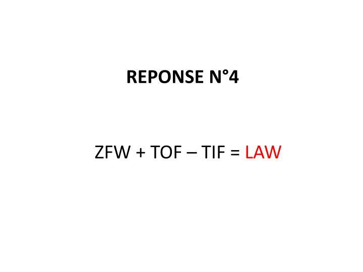 ZFW + TOF – TIF =