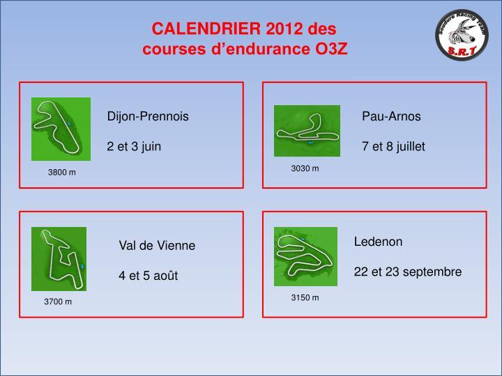 CALENDRIER 2012 des courses d'endurance O3Z