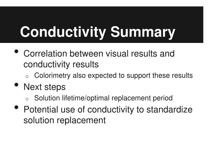Conductivity Summary