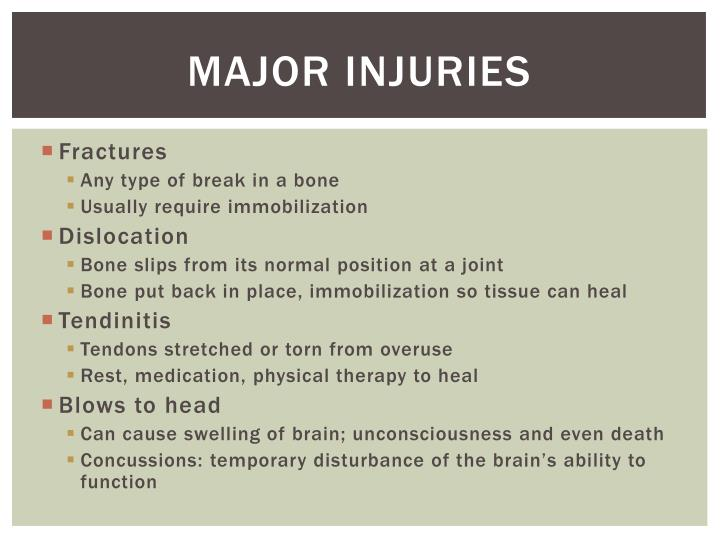 Major Injuries