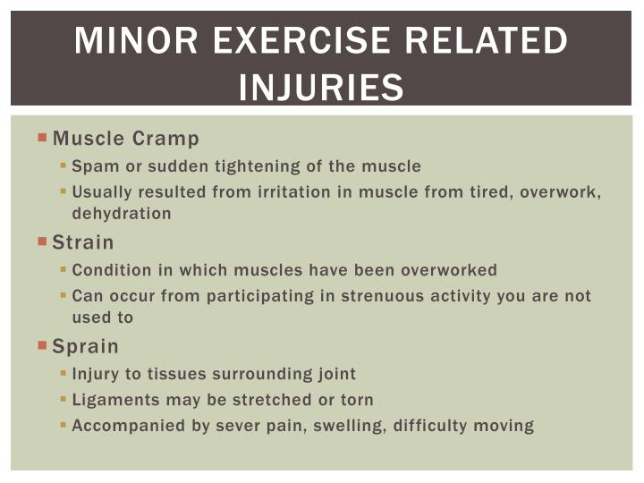 Minor exercise related injuries