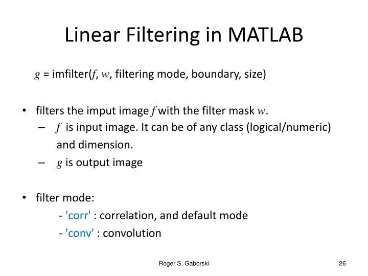 Linear Filtering in MATLAB
