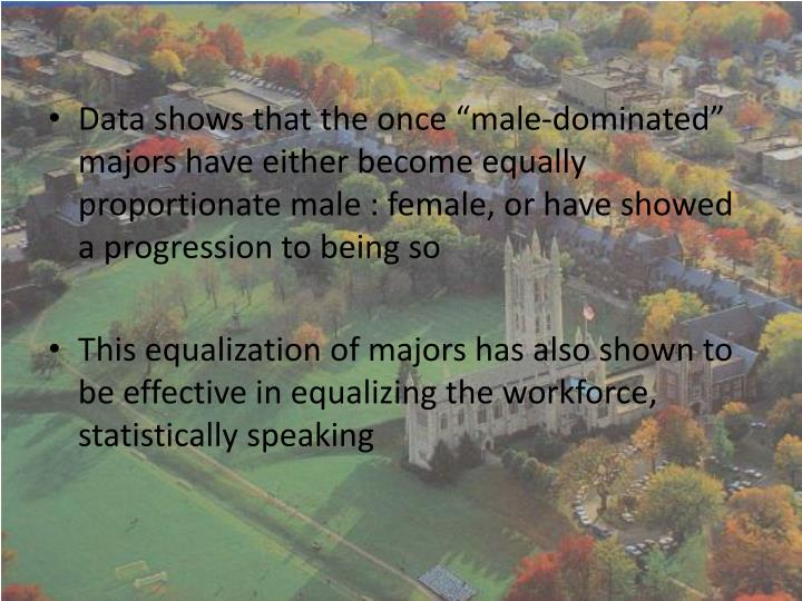 "Data shows that the once ""male-dominated"" majors have either become equally proportionate male : female, or have showed a progression to being so"