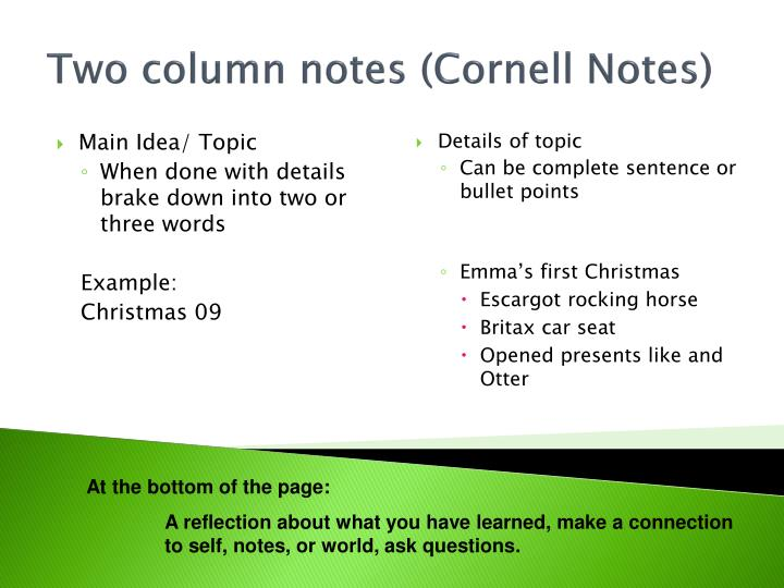 Two column notes (Cornell Notes)